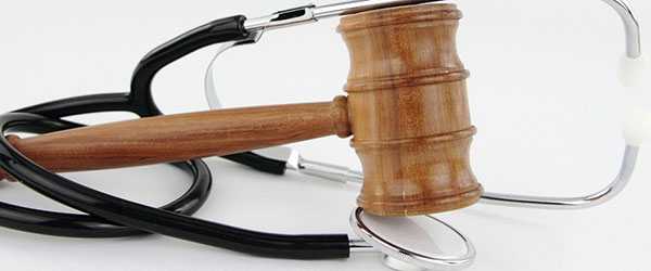 Gavel and stethoscope representing personal injury law